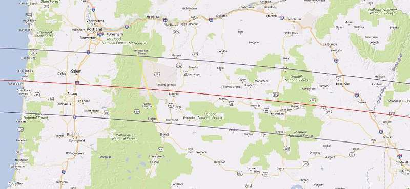 COURTESY PHOTO: NASA - This image shows the path of the total solar eclipse.