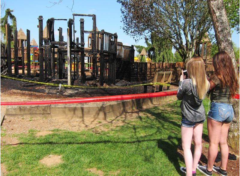 FILE PHOTO - The charred remains of Imagination Station, a beloved community park in Troutdale, are shown in this photo taken in April 2016.