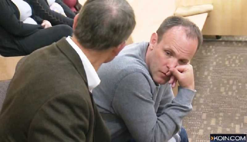 COURTESY PHOTO: KOIN NEWS 6 - Nicole Laubes husband, Chris (right) sits with her father, Rich Jones, as her killer Jaime Tinoco was convicted of murder, June 13.