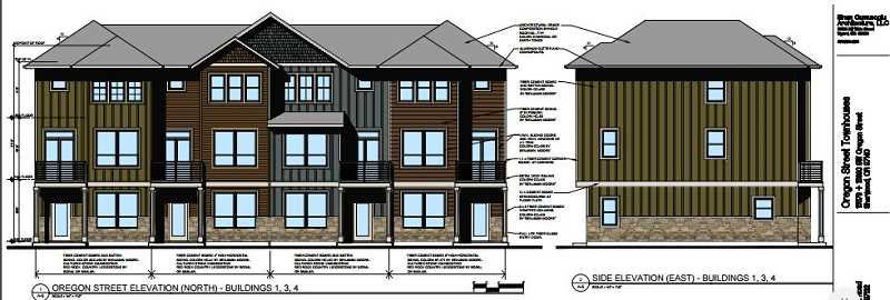 COURTESY CITY OF SHERWOOD - These archtectural renderings show what three of the six seperate buildings containing a total of 25 townhouses would look like along Oregon Street in Old Town Sherwood.