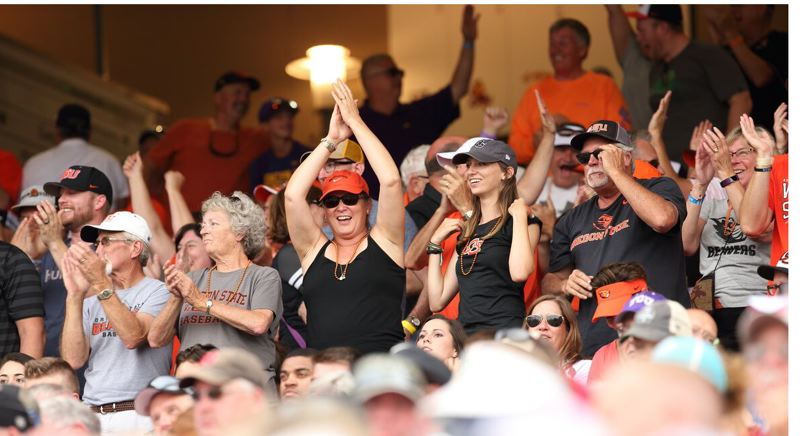 COURTESY: SCOTT CASSIDY - Beavers fans cheer as their team rallies to edge Cal State Fullerton.