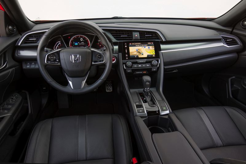 HONDA AMERICA MOTOR COMPANY - All versions of the 2017 Honda Civic Hatch Sport can be ordered with a six-speed manual or Continuously Variable Transmission. The Touring version has more standard featues, inckuding a larger infotainment screen.