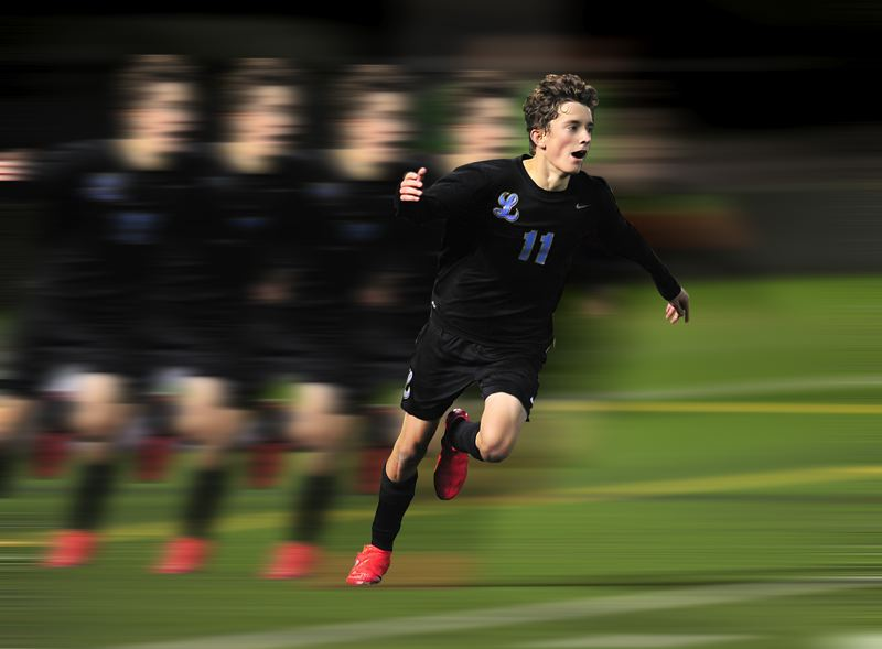 PHOTO ILLUSTRATION: MILES VANCE - Lakeridge senior Paul Seydel was a man in motion all year, leading the Pacers with 26 goals and 13 assists to win Three Rivers League, Oregon and Gatorade Player of the Year honors.