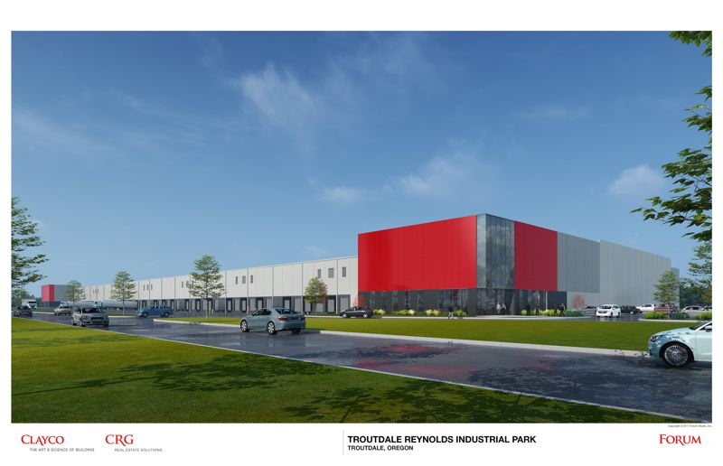 RENDERING COURTESY CRG - The 344,000-square-foot manufacturing and distribution hub the Clayton Realty Group plans for Troutdale could host up to four different companies.