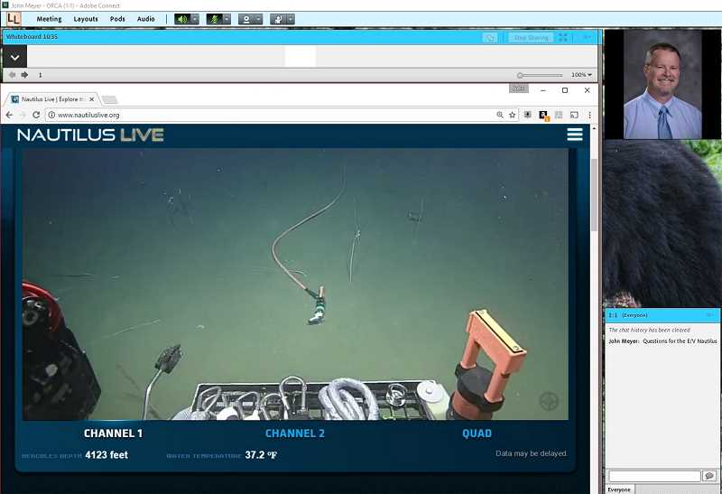 PHOTO COURTESY OF OREGON CONNECTIONS ACADEMY  - A screenshot from John Meyer's computer shows a piece of equipment from the E/V Nautilus during the live-lesson with students from across the state on Thursday, June 8, where Meyers taught the lesson from his home in Mulino.