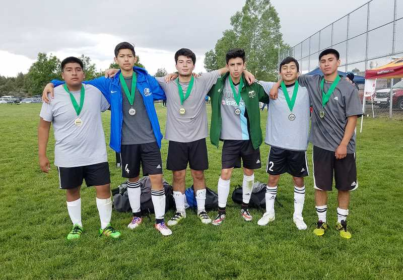 MARY BRAVO/FOR THE PIONEER - Madras MPC took first in the U-18 boys division. The team was made up of, from left to right, Alex Arana, Esteban Gomez, Andres Acuna, Melchor Olivera, Alex Diaz and Jonathan Reynoso.