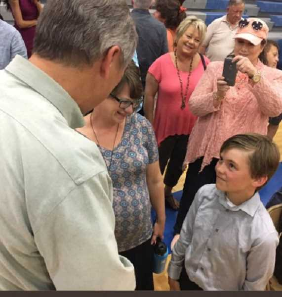 COURTESY OF SEN. JEFF MERKLEY - Sen. Jeff Merkley (D-Oregon) talks to a group of residents on a recent jaunt through eastern Oregon, with many worried that they will lose their healthcare if the Republican bill passes Congress.