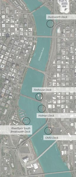 MAP BY RACHEL SEWELL-EDMONDS, COURTESY OF MIG - MIG consultants in Portland evaluated five docks in the central city for use by swimmers and sunbathers. Consultants called for ladders and life rings at each of the docks, at a minimum.