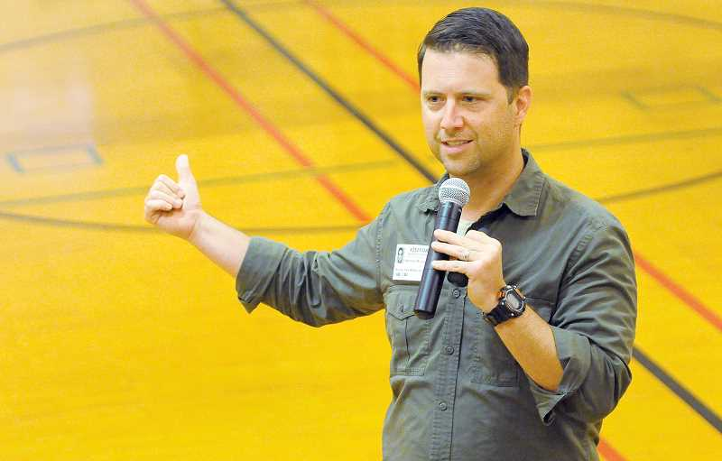 SETH GORDON - George Fox University guidance counselor Nate McIntyre speaks in early June to students at Mountain View Middle School about self-esteem, mental health and suicide awareness.