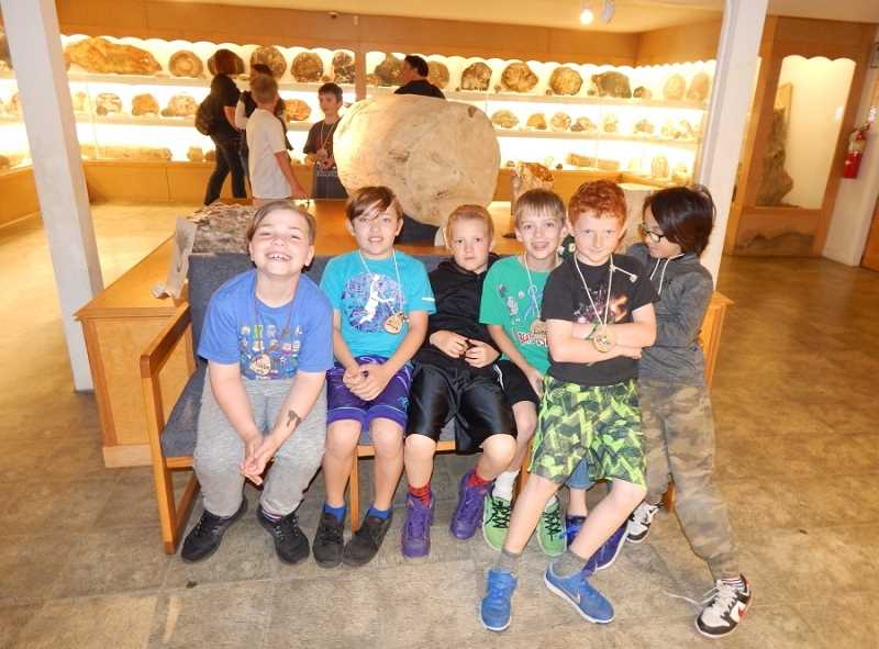 BARBARA SHERMAN - Some Deer Creek students take a break in the petrified wood gallery, with one student asking after seeing slices of petrified tree trunks, 'Where is the rest of the trees?'