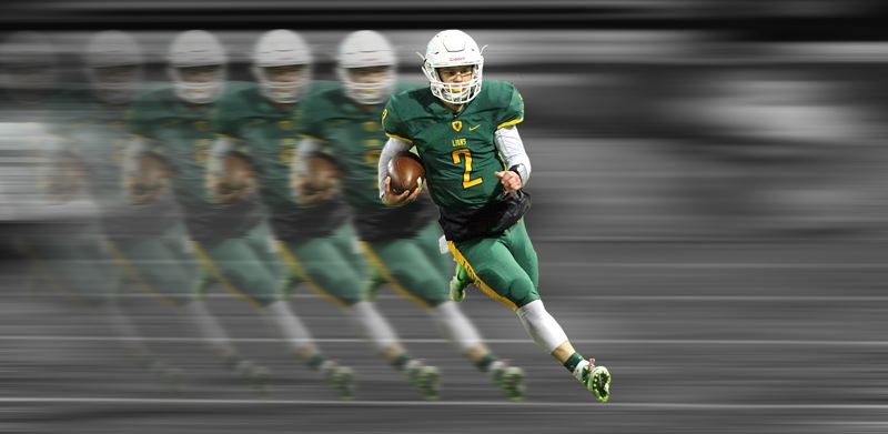 TIDINGS PHOTO ILLUSTRATION: MILES VANCE - West Linn's Tim Tawa must have looked like a blur to opponents this year, throwing for 55 touchdowns and leading the Lions to a state championship.
