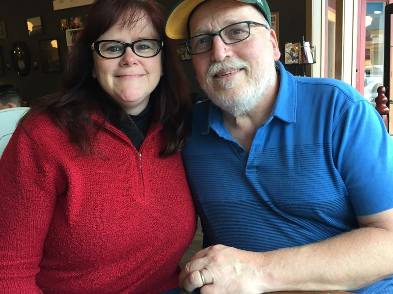 ESTACADA NEWS PHOTO: EMILY LINDSTRAND - Michael Wagner, pictured here with his wife Pam, is in good spirits after being seriously injured in an incident at Harvest Market last month.