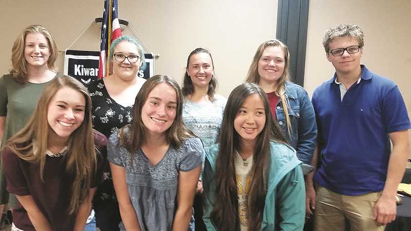 Eight of the students who were awarded Canby Kiwanis scholarships attended at June 12 club meeting. They are (front row, left to right) Lauren Thomas, Kyra Mull, Kara Guttridge, (back row, from left) Kennedy Birley, Grace Harney, Rachel Kimble, Allison Davis, and Harrison Gingerich.