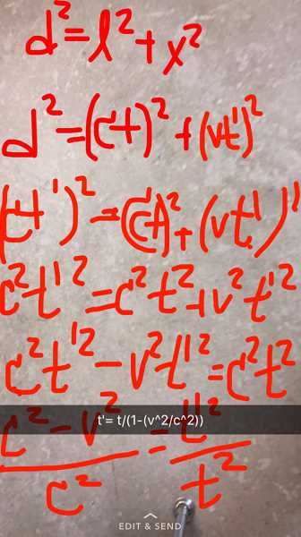 SUBMITTED PHOTO: CLAIRE WILLIAMS - This is a picture from Snapchat when Claire Williams and her classmates were deriving the Theory of Relativity in Class.