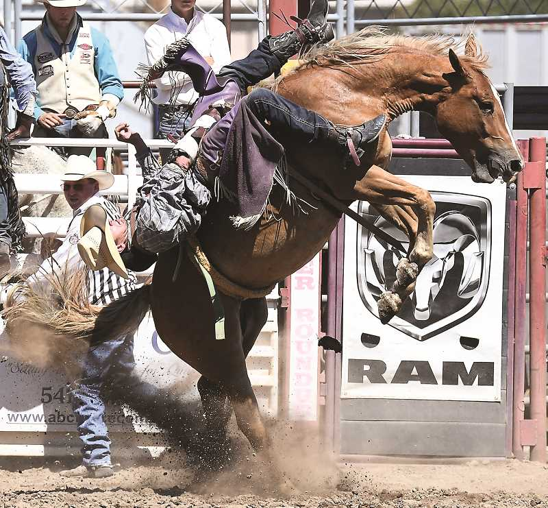 The 2017 Crooked River Roundup kicks off Friday morning with slack at 11 a.m. The Roundup continues through Sunday with performances Friday and Saturday evenings at 7 p.m. and a matinee performance on Sunday beginning at 2 p.m. In the photo Powell Butte's Brian Bain makes a ride at last year's Roundup. Bain is entered again this year.