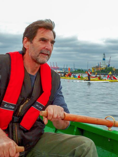 CONTRIBUTED  - Ken Ward pilots a small watercraft during a Shell No! protest in Seattle Harbor in 2015.