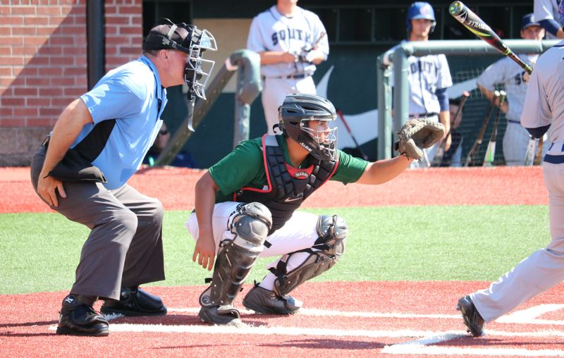 REVIEW/NEWS PHOTO: JIM BESEDA - Clackamas catcher Jordan Mambaje went 3-for-6 with two RBIs for the North in three-game Daimler Oregon All-Star baseball series at Goss Stadium in Corvallis.