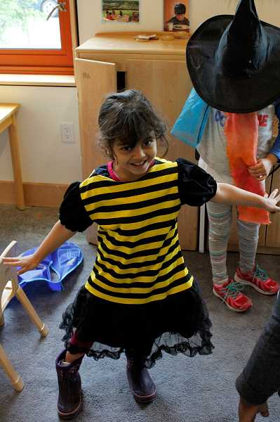 A Head Start representative said the young students, like this bumble bee Noran Krimid, were 'very excited' to receive the costume box donations. They love imaginative play, but good dress-up items can be hard to find.