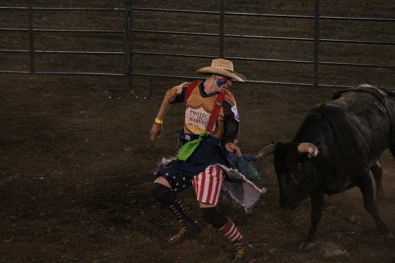 PIONEER PHOTO: CONNER WILLIAMS - Jack Crenshaw, Jr. took first in the freestyle bullfighting event on Saturday at the Coastal Farm and RanchChallenge of Champions Tour with a score of 85 points.