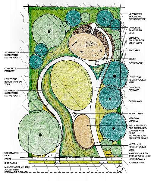 BALFOUR PARK MASTER PLAN DRAWING - This illustration from the Balfour Park Master Plan shows how Ardenwalds new park would be developed.