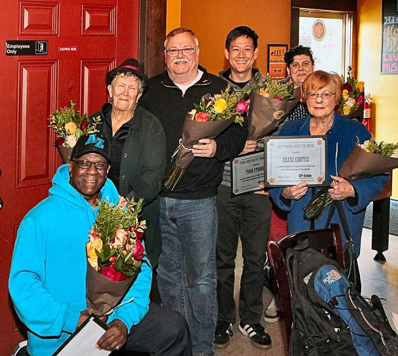 DAVID F. ASHTON - Frank Harris, Nancy Chapin, Gary Sargent, Todd Struble, Marina Martinez-Bateman, and Eilene Curtiss, Past President, 82nd Avenue of Roses Parade Committee receive Outstanding Volunteer awards.