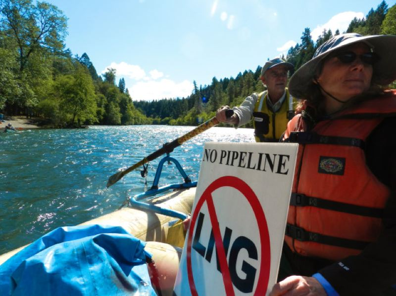 COURTESY PHOTO  - Protesters against an LNG terminal proposed on the Oregon Coast.