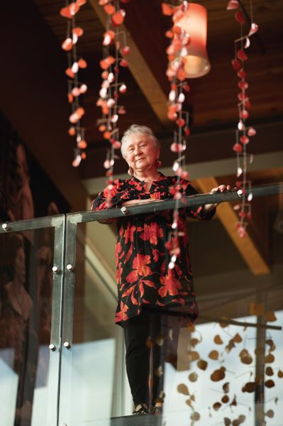 PORTLAND TRIBUNE: JAIME VALDEZ - Candyce Scott's mobiles hang from the ceiling at the Geezer Gallery's space at Artists Repertory Theatre. Scott, 68, is the gallery's art program director.