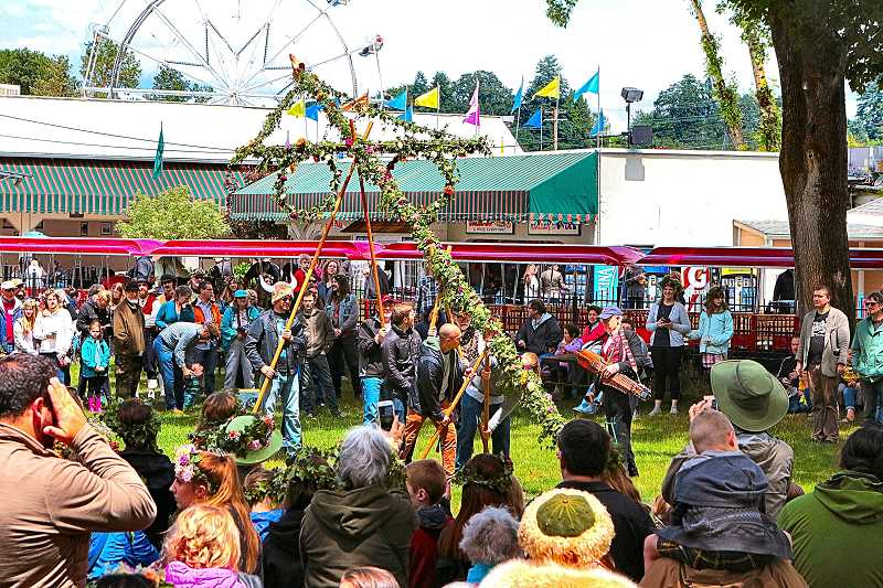 DAVID F. ASHTON - With a mighty heave-ho, volunteers and organizers raised the Majstång (Midsummer Pole).