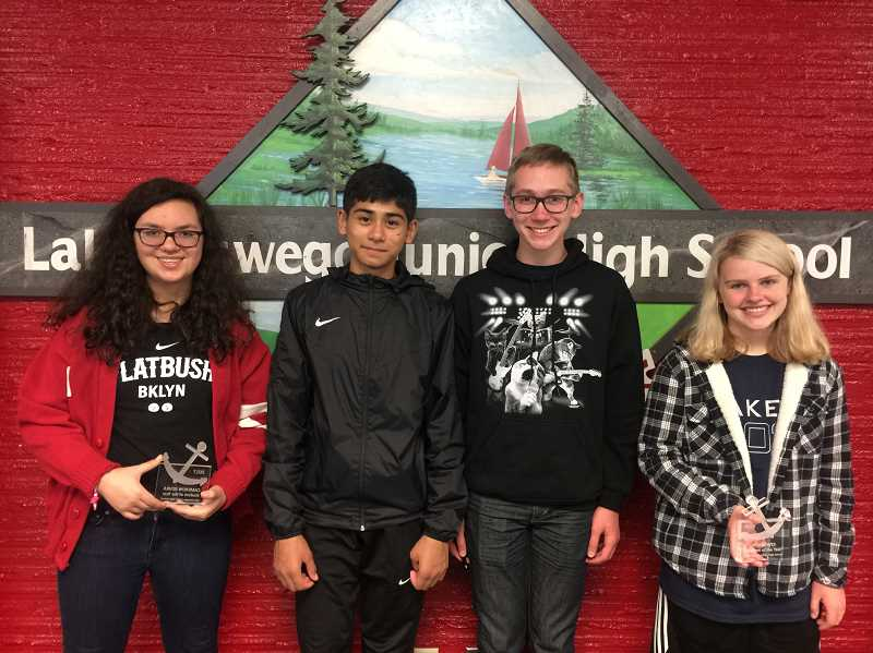 SUBMITTED PHOTO: CONNIE STURM - The eighth-graders who are Students of the Year are: Cameron Iizuka, Mohnish Judge, Zach Avar and Josi Hewes.