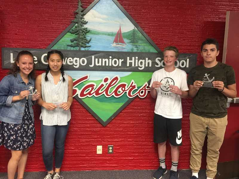 SUBMITTED PHOTO: CONNIE STURM - The seventh-graders who are Lake Oswego Junior High students of the year are: Quinn Green, Ji Reichle, Jack Layne and Zachery Grisham.