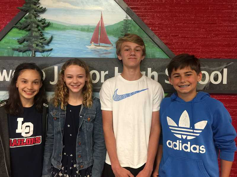 SUBMITTED PHOTO: CONNIE STURM - The sixth grader who are Lake Oswego Junior High students of the year are: Bella Johnson, Madeleine Herion, Calvin Macy and Sean McDowd.