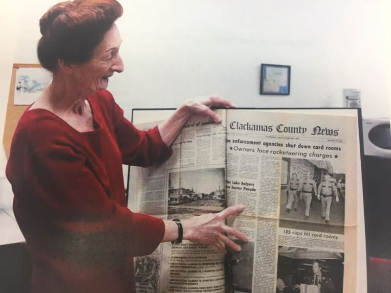 FILE PHOTO - Author and historian Kathryn Hurd is all smiles while exploring The News archives. Hurds latest effort Estacada Sagas examines the history of the town and its residents. It will be published in july.