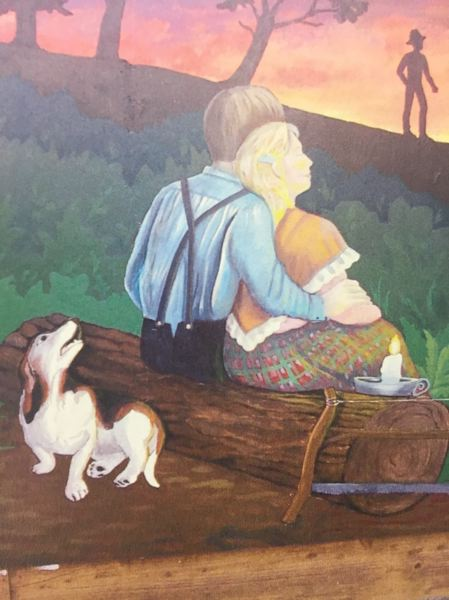 CONTRIBUTED PHOTO - This scene from Am Griswolds mural An Evening on the Barlow Road shows pioneers relaxing after a long day on of traveling west. The mural will be restored and moved to its new home at Philip Foster Farm, along the historic Barlow Road, in July.