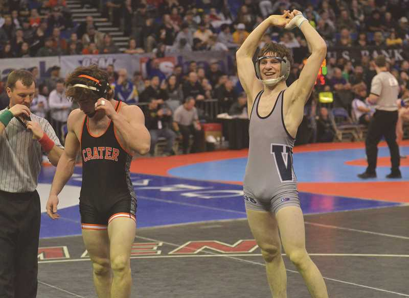 SPOKESMAN FILE PHOTO: COREY BUCHANAN - Wilsonville wrestler Perry Rodenbeck was elated after defeating Jace Godley in the semifinals of the state tournament in February.