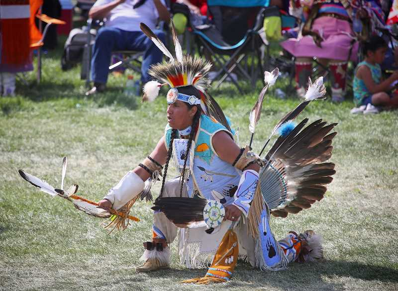 PHOTO BY EDWARD HEATH - A male contestant participates in one of the Pi-Ume-Sha dances last weekend.