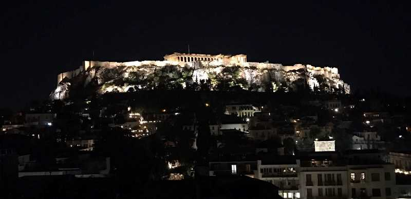 SUBMITTED PHOTO: SERENA ZHANG - Serena Zhang offers a view of the Acropolis at night in Athens, Greece.