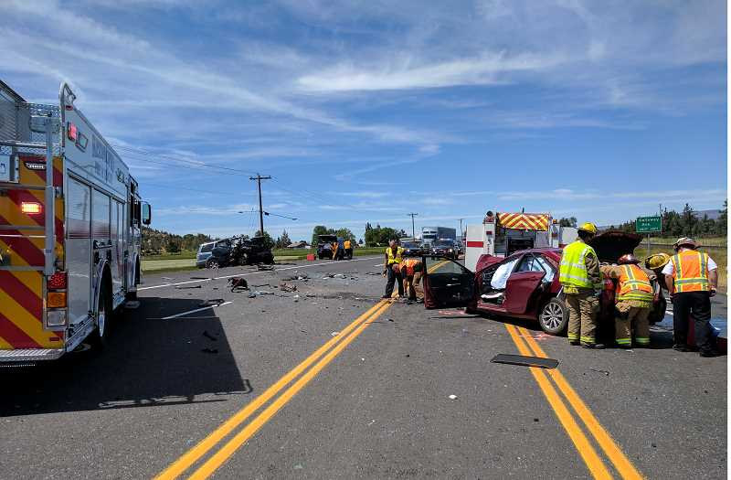 SUBMITTED PHOTO - One vehicle crossed the center line, crashing head-on into another vehicle.