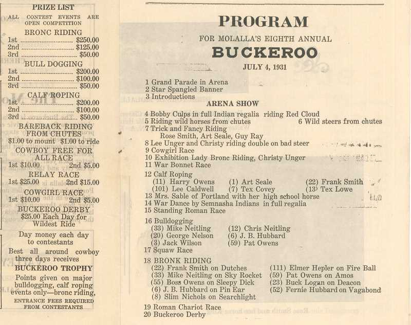 A page from the 1931 Molalla Buckeroo program
