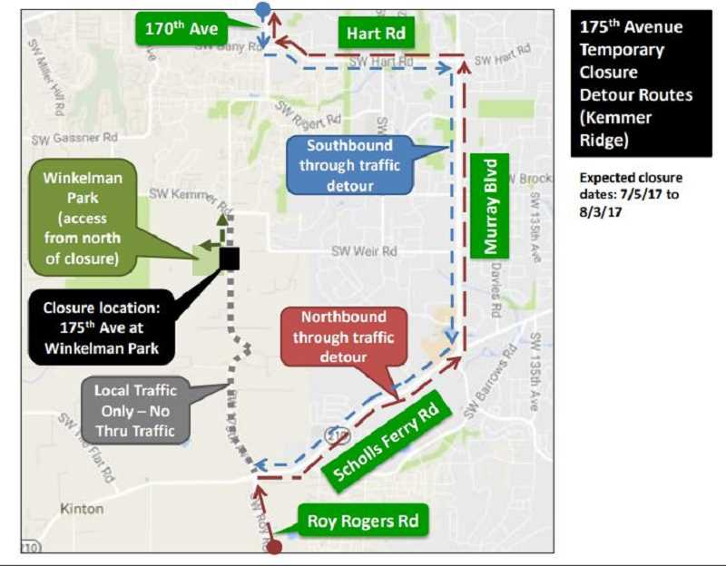 COURTESY OF WASHINGTON COUNTY LAND USE AND TRANSPORTATION - Here are alternative routes to get around 175th Avenue during its closure.