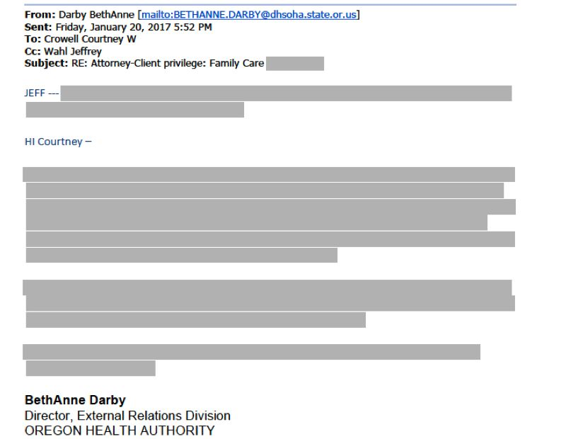 SCREENSHOT - Oregon Health Authority officials blacked out mentiion of its 'comms' plan in the subject of an email, as well as all discussion of it.