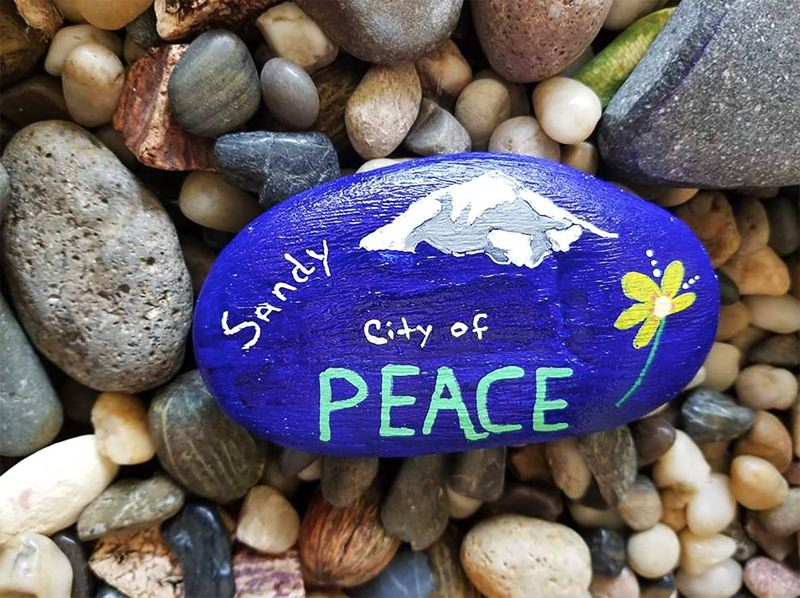 CONTRIBUTED PHOTO: MACHEL HELDSTAB - Machel Heldstab painted this 'peace' rock for the July 3 International Drop-A-Rock day.