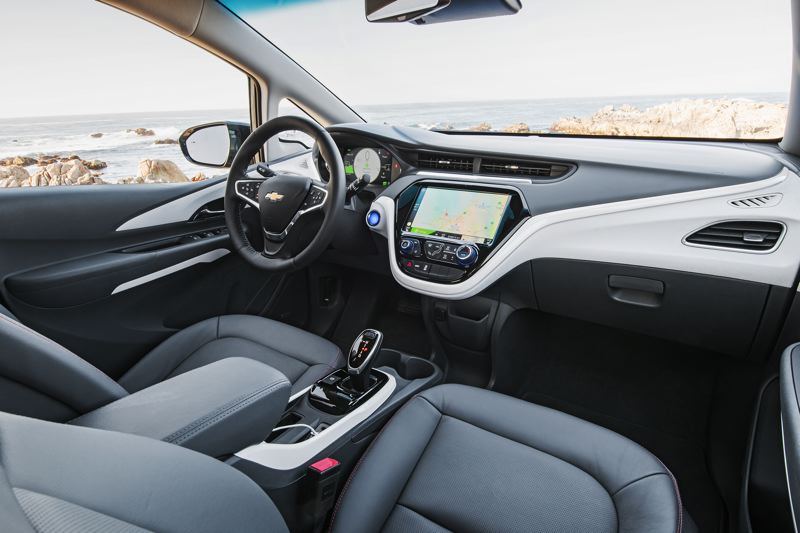 COURTESY GENERAL MOTORS CORP. - The interior of the 2017 Chevy Bolt EV is surprisingly roomy for a compact car and it can be ordered with leather seats and the latest automotive technologies.