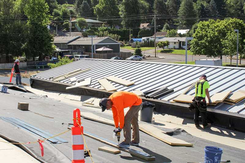 CONTRIBUTED PHOTO - Repairs to Clackamas River Elementary School's roof began on Monday, June 19, and are expected to be completed sometime this week.