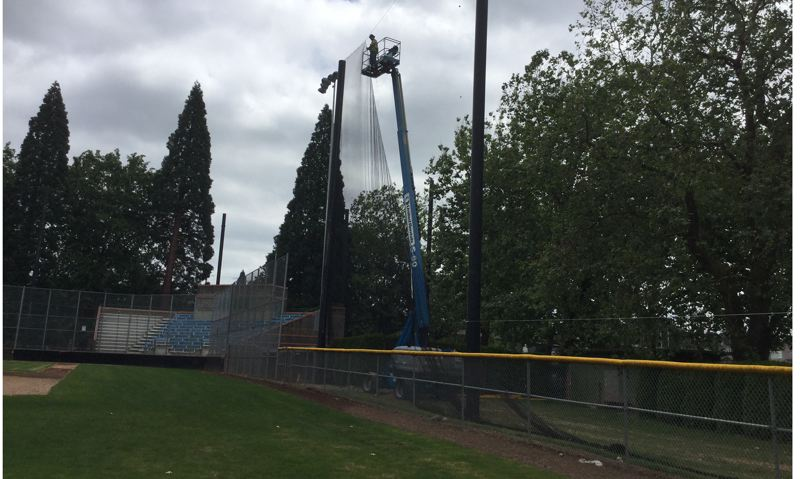 COURTESY: PORTLAND PARKS & RECREATION - Netting goes up at Sckavone Stadium, which will reopen on Tuesday for baseball.