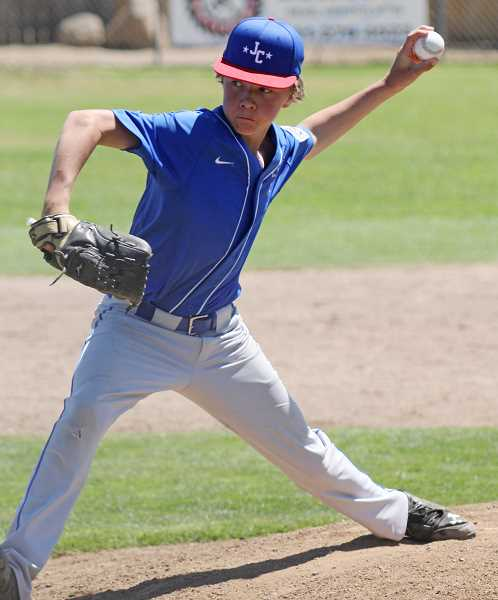 WILL DENNER/MADRAS PIONEER - In an 18-0 shutout win over Hood River Valley, Jefferson County starting pitcher Tristen Symons picked up the win, while also hitting a home run, one of four Jefferson County kids to clear the fence.