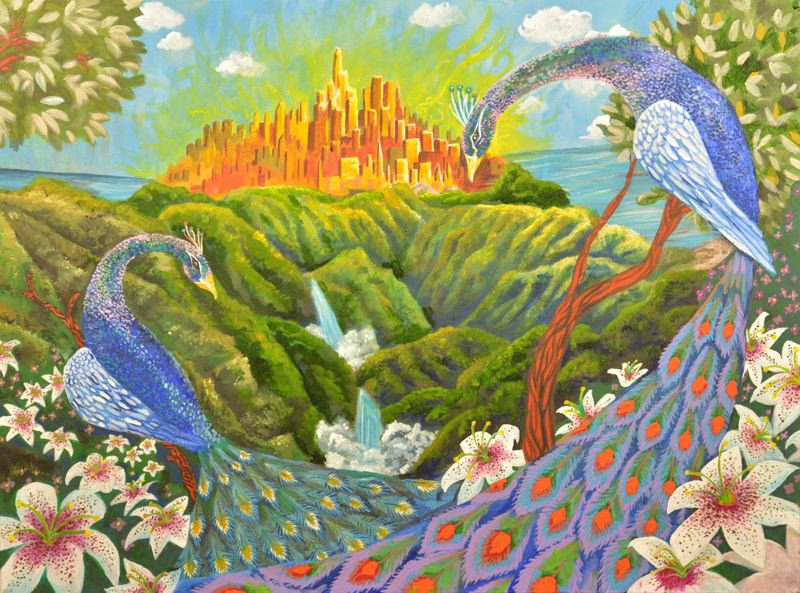 CONTRIBUTED PHOTO - 'Peacock Paradise' by Karin Hoffman. This is one of two pieces which will be on display in Beaverton.