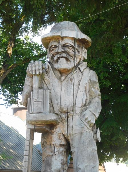 ESTACADA NEWS PHOTO: EMILY LINDSTRAND - The logger statue, presently located in front of Estacada City Hall, will be moved to Timber Park later this summer.