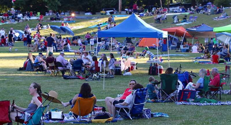 Parking was already at capacity and Willamette Park was already starting to fill even three hours prior to the annual fireworks show.