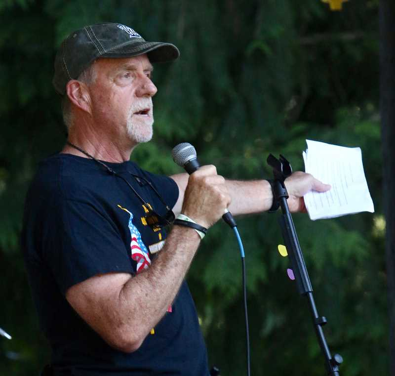 West Linn Mayor Russ Axelrod thanked the many sponsors of this year's July Fourth event while also promoting many of the upcoming summer events in town.