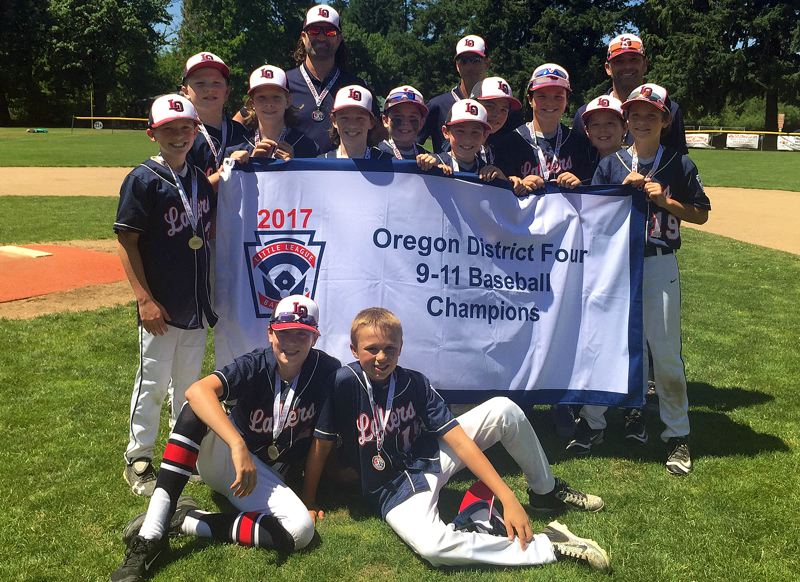 SUBMITTED PHOTO - The Lake Oswego 9/11 baseball all-stars won the District 4 championship on Sunday. The team includes (front row, left to right) Campbell Smith and Mickey McClaskey, (middle row) Matt Layne, Declan Francis, Noah Bastian, Finley Smith, Carsten Lowe, Karsten Krebs, Sam Trojan, Ryan Oliver, Charlie Goodwin and Max Brauner, and (back row) coach Clay Bastian, manager Rand Smith and coach Matt Krebs.